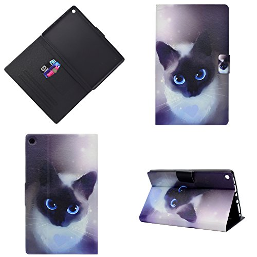 Uliking Folio Case for Amazon Kindle Fire HD 8 Tablet (7th Gen, 2017 & 6th Gen, 2016), Slim Lightweight PU Leather [Card Holder] Multi-Angle Stand TPU Smart Cover with Auto Wake/Sleep, Blue Cute Cat -
