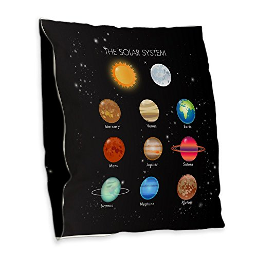 Burlap Throw Pillow Solar System Sun Moon and Planets by Royal Lion