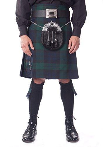 Kilt Society Mens 7 Piece Full Dress Kilt Outfit- Black Watch Tartan with Black Hose 30'' to 34'' by Kilt Society