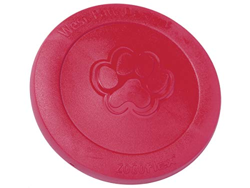 West Paw Zogoflex Zisc Durable Dog Frisbee Nearly Indestructible Flying Disc Dog Toy, 100% Guaranteed Tough, It Floats!, Made in USA, for Medium Chewers (Large, Ruby Red)
