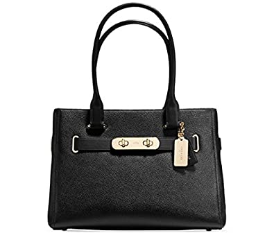 COACH SWAGGER CARRYALL IN PEBBLE LEATHER (Light Gold Black)  Handbags   Amazon.com a2c8e35a2c