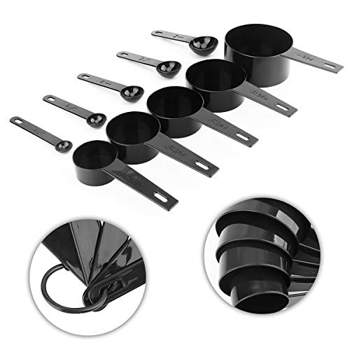Plastic Measuring Cup and Spoon Set,Wmtidene BPA-free 8 Measuring Cups & 5 Measuring Spoons with Handle Stackable Design for Cooking & Baking(13 Piece)