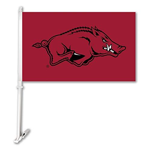 NCAA Arkansas Razorbacks Car Flag with Wall Bracket, Maroon,