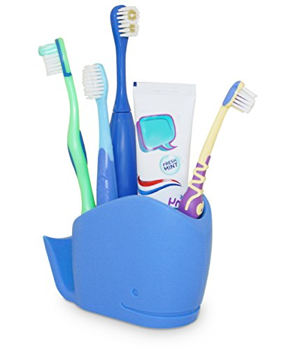 j-me Whale Toothbrush Holder for Kids - Children's Bathroom Storage Organizer for Toothpaste, Toothbrushes and More - Non Slip Bathroom Tidy