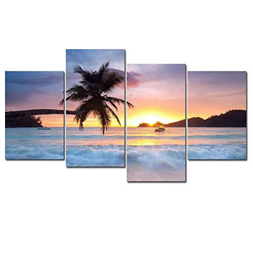 Pyradecor Sunrise Beach Theme Large 4 Piece Seascape Giclee Canvas Prints on Canvas Wall Art Modern Gallery Wrapped Ocean Sea Waves Pictures Paintings Artwork Ready to Hang for Home Décor L
