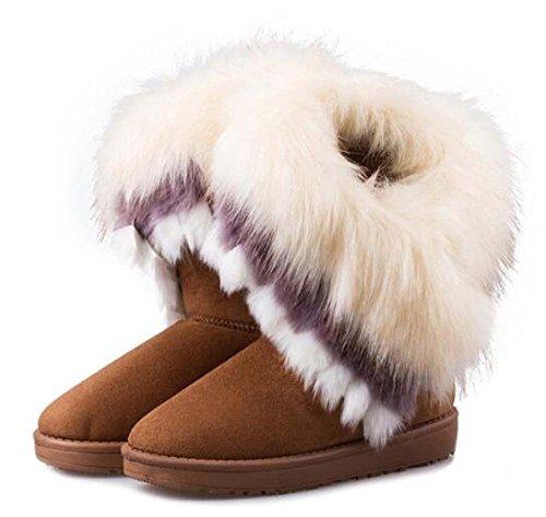 Naughtyangel Vrouwen Winter Warme Sneeuw Enkellaarzen Lage Hakken Faux Vos Konijnenbont Kwast Schoenen Geel