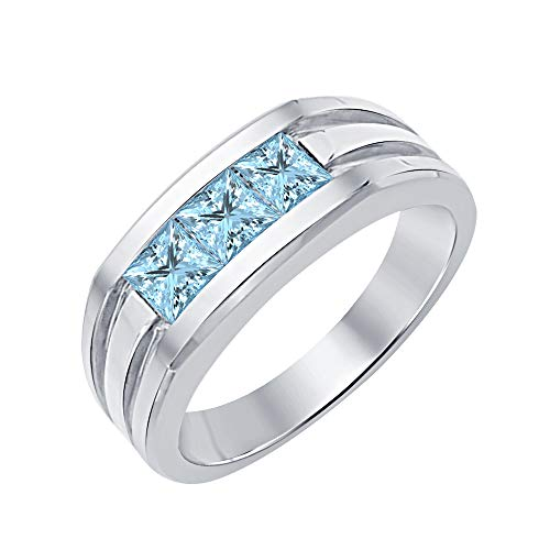 RUDRAFASHION Princess Cut Three Stone Aquamarine 14K White Gold Plated Engagement Wedding Band Ring for Men's