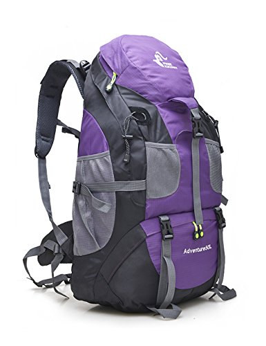 Price comparison product image 50L Water Resistant Foldable Hiking Backpack Outdoor Bag for Cycling Camping Climbing Mountaineering Skiing Fishing Travel Daypack Women Men Size 14.17'' x 9.05'' x 22.05'' (Purple)