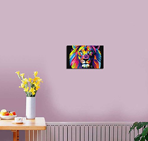Purple verbena art colorful lion pictures prints on canvas for Living room 12x16