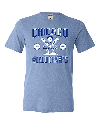Go All Out Screenprinting Large Blue Adult Chicago World Champs 2016 Triblend (Blue Try Out T-shirt)