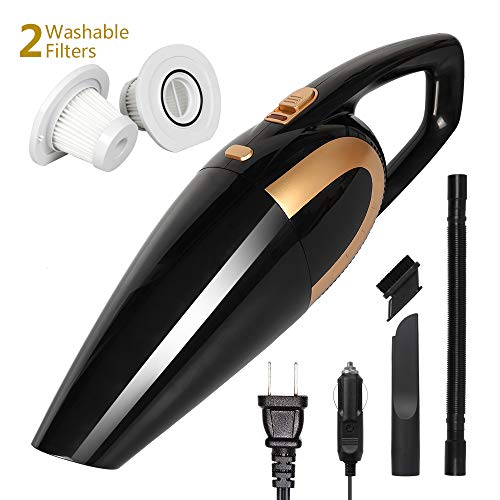 AivaToba Portable Cordless Handheld Vacuums [ Up to 35 Mins ] 120W 6000Pa Powerful Suction [ Quick Charge Tech ] Wet Dry Lightweight Rechargeable [ with 2 Cylinder Filters 2 Charge Adapter ]
