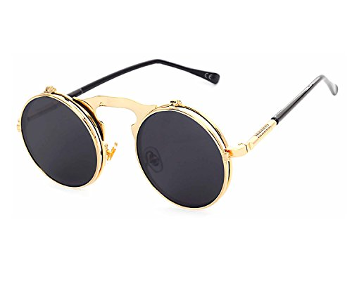 VeBrellen Retro Men Glasses Round Flip-Up Steampunk Sunglasses Clamshell Metal Frame Sunglasses (Gold Frame With Gray Lens, - Round Up Flip Glasses