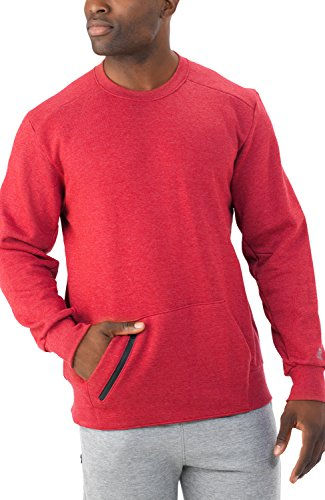 Russell Athletic Men's Cotton Rich Fleece Sweatshirt, Red Heather, XS