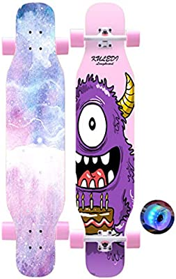 Skateboards para principiantes / adultos / jóvenes 43 pulgadas Baile de longboard 7 capas de madera de arce de madera dura con ruedas de PU lisas (Caída a ...