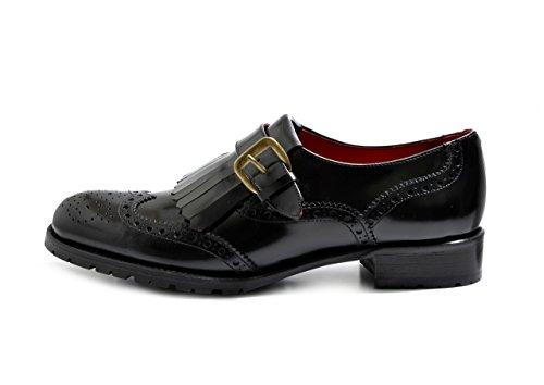 and Smart Women's F 63 Fringe Brogue Black VITELO Monk Leather Polished Shoes w7IIZq