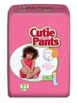 Cuties Refastenable Training Pants- Girls (Case) (3T to 4T (32-40 lbs) - 4 Bags of 23) by Cuties