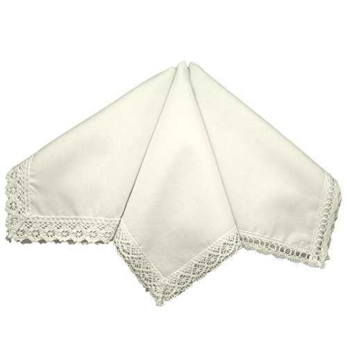 Ivory Wedding Bridal Ladies Cotton Lace Handkerchiefs Hankie Hanky- Set of 3 ()