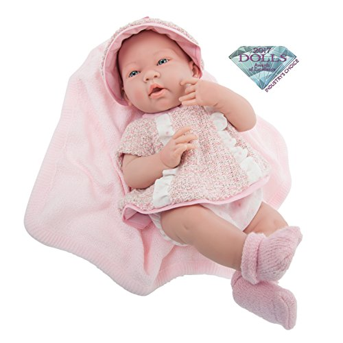 JC Toys La Newborn Real Girl Baby Doll, Rose (Cuddly Collection Knit)