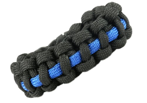 Thin Blue Line Law Enforcement Support Paracord Survival Bracelet (Large (9 Inches)
