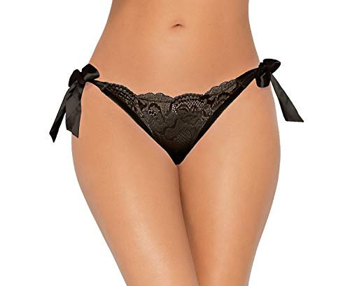 Lacy Line Sexy Lurex Lace Tie Sides Panties with Peek-A-Boo Back (L/XL,Black)