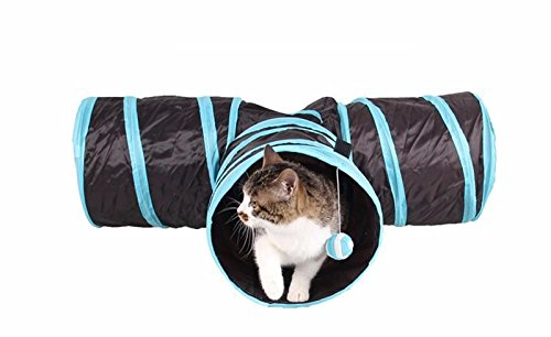 3 Way Collapsible Pet Play Tunnel | For Cats, Dogs, and Bunnies | Crinkle Sounds, Hide and Seek Hole | Provides Hours of Independent Play and Stress - Water Tower Store Hours