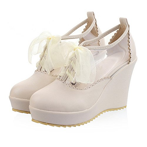 Thick up Platform Color Candy 39 Sole Size Thin High Plus Lace Style beige Shoes Preppy ZqIY00
