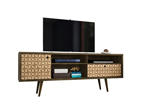 Manhattan Comfort 202AMC97 Liberty Large Mid-Century Modern TV Stand, Brown/3D Print