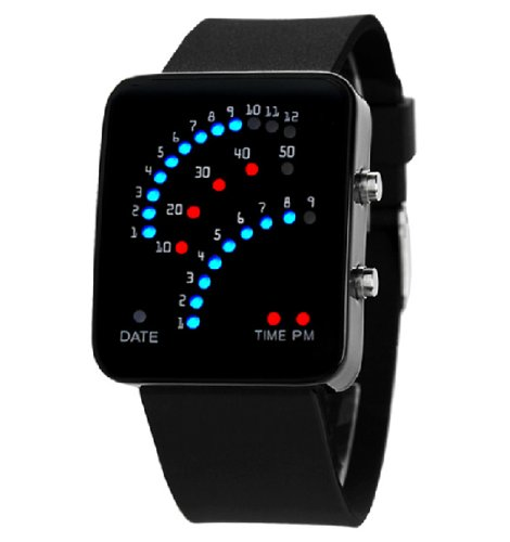 Fanmis 29 LED Sector Blue Red Light Digita Date Black Silicone Strap Mens Womens Wrist Watches