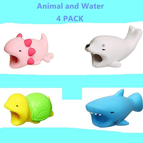 - YMH Cable Protector iPhone iPad Cable Android Cord Plastic Cute Sea Animals Phone Accessory Protects USB Charger Data Protection Cover Chewers Earphone Cable Bite 4Pack (ASTB)