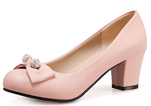 Aisun Kunstleder Pumps Runde Pink Schleife Strass Low Perlen Damen Zehen Blockabsatz Top 4rwq45