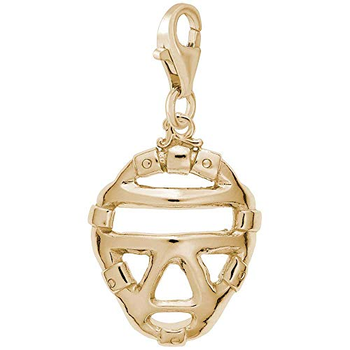 Rembrandt Charms Catcher's Mask Charm with Lobster Clasp, 14k Yellow -