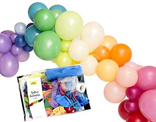 (Rainbow 16 feet Balloon Party Garland Decoration Kit, Balloons and Tools, Balloon Tape, Balloon Glue, String, Balloon, Circus, Fiesta, Colorful, Baby Shower, Kids Party - by TOKYO SATURDAY)