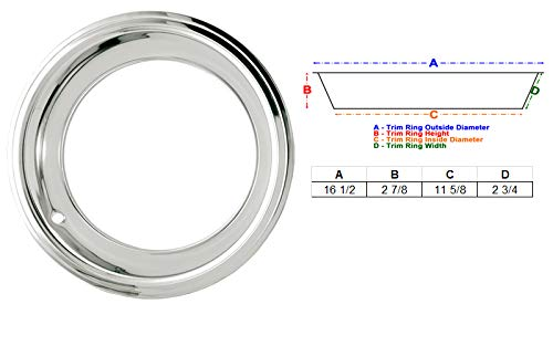 Eagle Flight 15'' Deep Dish Triple Chrome Plated Stainless Steel Trim Rings with Stepped Edge fits 7'' and 8'' Wide Factory and Aftermarket Wheels (Olds and Mopar Style, Set of 4) by Eagle Flight