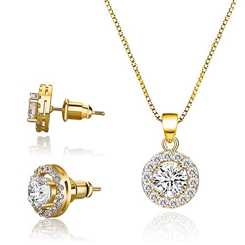 CZCITY Rose Gold Necklace Jewelry Set for Women - 18K Rose Gold Plated Pendant Necklace Stud Earrings Set Round Cut CZ Solitaire Halo Necklace Women Girls, Flower Girl Necklace Bridesmaid Jewelry