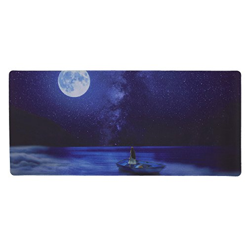 41c5GpH52lL - Extended Gaming Mouse Pad - Girl Under Night Sky Theme - XXL Extra Large Desk Pad Mouse Pad - Precision Mousing and Water Resistant Surface, 34.5 x 15.75 x 0.12 Inches