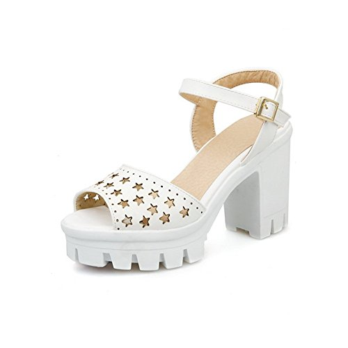 Adee Mujer ankle-cuff Open-toe sandalias Poliuretano blanco