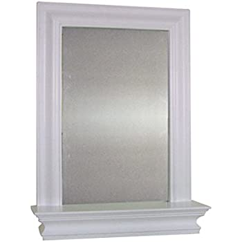 white bathroom mirror with shelf. kingston wall-mounted white bathroom mirror and storage shelf with r