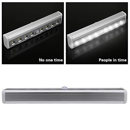 Rumas Self-Adhesive LED Night Light Wall Mount - 8 LEDs PIR Auto Motion Sensor Infrared Night Light - Battery Operated Night Lamp Outdoor Indoor - Energy Saving Beside Lamp (Silver)