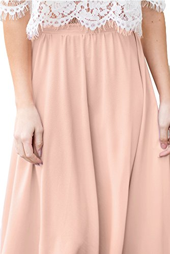 For G and PL Womens Elastic Waist Chiffon Solid Color Swing Flowy Flared Loose Casual Midi Skirt Pink XL by For G and PL (Image #5)