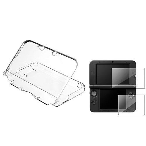 Reusable Clear Screen (Water & Wood Clear Crystal Case with 2-LCD Kit Reusable Screen Protector for Nintendo 3DS XL)