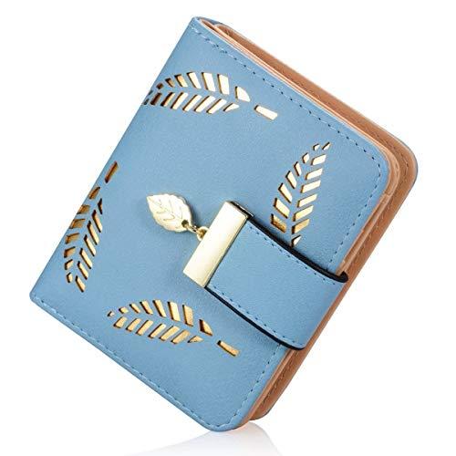 Women's Wallet Hollow Leaf Pattern Bifold Leather Lady Purse Coin Button Clutch Bag (Blue-short) (Bi Fold Wallet Short)