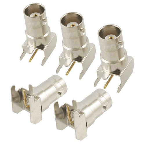 uxcell 5 Pcs BNC Female Right Angle Solder PCB Mount RF Connector Adapter ()