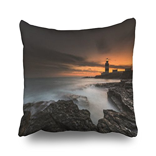 Anastasia Lighthouse - Sneeepee Throw Pillows Covers Design Lighthouse Hook Head County Wexford Ireland Colorful Lighthouses Square 18 x 18 Inches Decorative Pillowcase Home Decor Sofa Pillow Cushion Cases