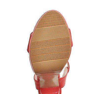 LvYuan Mujer Sandalias Confort Tira en el Tobillo Cuero Verano Vestido Confort Tira en el Tobillo Hebilla Tacón RobustoBlanco Negro Rojo ruby