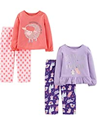Toddler Girls' 4-Piece Fleece Pajama Set (Poly Top & Fleece Bottom)
