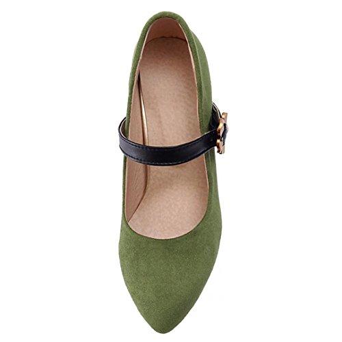 AIYOUMEI Damen Blockabsatz High Heels Knöchelriemchen Pumps mit Schnalle und Blumen 7cm Absatz Schuhe Grün