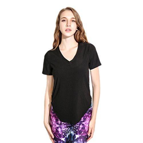 À Courtes Confortable Pour Top Eté Casual En Manches Dentelle Noir Yoka T Couleur Femme Blouse Col V shirt Acvip TfWq68YBn