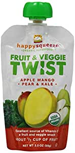 Happy Squeeze Organic Snacks, Twist Apple Mango Pear & Kale, 3.5 oz (Pack of 12)