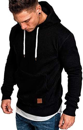 Beautyfine Men's Hoodies Sweatshirts Long Sleeve Autumn Spring Solid Color Tops Shirt