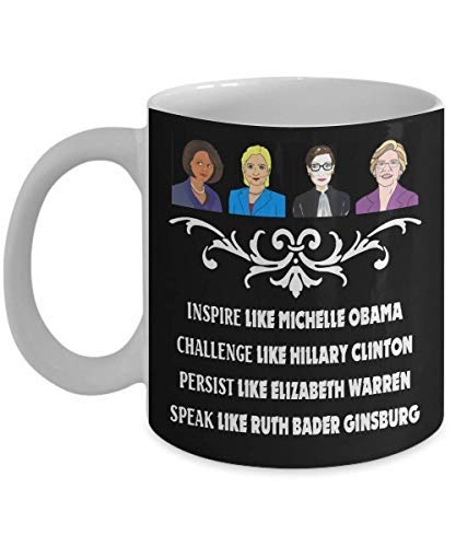 - Inspire like Michelle Obama Challenge like Hillary Clinton Coffee Mug Funny Cup Tea Gift For Christmas Father's day Xmas Dad Anniversary Moth